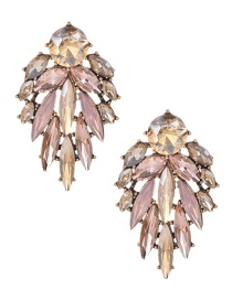 Fashion Pink Alloy Diamond Drop Earrings