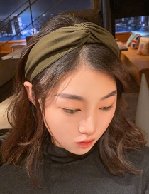 Fashion Deep Army Green Wide-brimmed Fabric Knotted Cross Headband