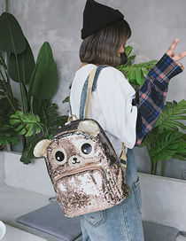 Fashion Brown Sequined Cartoon Laser Backpack