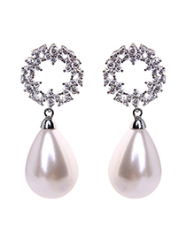 Fashion Silver 925 Silver Needle Zircon Diamond Pearl Stud Earrings