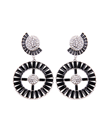 Fashion Black Cross Hollow Diamond Stud Earrings