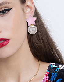 Fashion Pink Alloy Five-pointed Star Pearl Stud Earrings
