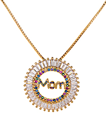 Fashion Gold Copper Zirconium Mom Necklace