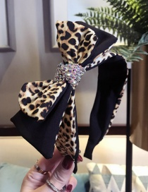 Fashion Leopard Yellow Double-layer Bow With Diamond Wide-brimmed Headband