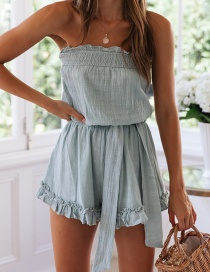 Fashion Blue Ruffled Chest Strap With Shorts