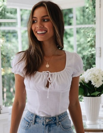 Fashion White Cotton And Linen Short-sleeved T-shirt