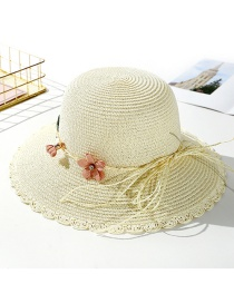 Fashion Creamy-white Tether Flower Sun Hat