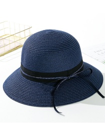 Fashion Navy Streamer Letter Tether Straw Hat