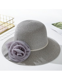 Fashion Gray Daxie Mesh Flower Straw Hat