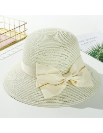 Fashion Creamy-white Big Bow Big Straw Hat