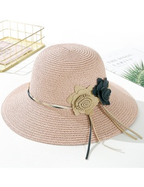 Fashion Snow Bud Powder Big Leather Rope Double Straw Hat