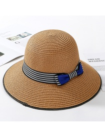 Fashion Light Coffee Striped Bow Straw Hat