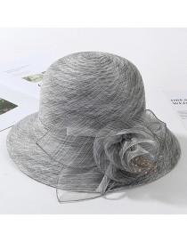 Fashion Gray Organza Flower Foldable Fisherman Hat
