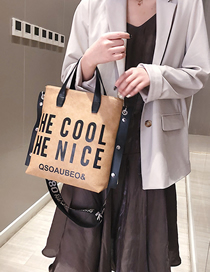 Fashion Khaki One-shoulder Shopping Bag