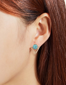 Fashion Blue Alloy Turquoise Hollow Triangle Stud Earrings