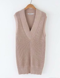 Fashion Khaki Solid Color Knit Sleeveless Vest