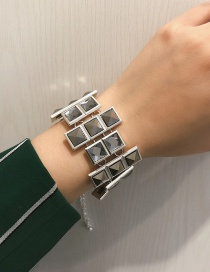 Fashion White K Square Glass Gemstone Irregular Bracelet