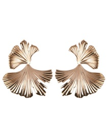 Fashion Gold Alloy Ginkgo Leaf Earrings