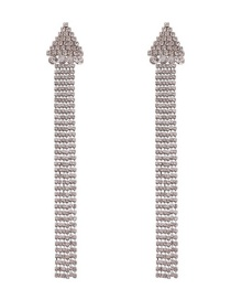 Fashion White K Alloy Triangle-studded Tassel Earrings