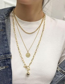 Fashion Gold Metal Ball Coin Multi-layer Necklace