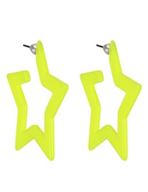 Fashion Fluorescent Yellow Resin Notched Pentagonal Ear Stud