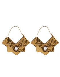 Fashion Gold Alloy Resin Drilled Geometric Earrings