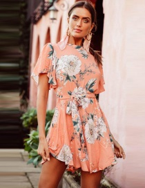 Fashion Orange Pink Flower Print Tie Trumpet Sleeve Dress