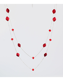 Fashion Red Crystal Double Layer Necklace