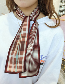 Fashion Wrapped Thousand Birds Coffee Houndstooth Multifunctional Small Scarf