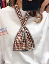 Fashion Camel Houndstooth Multifunctional Small Scarf