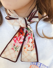 Fashion Front H Beige Small Flower Scarf