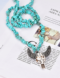 Fashion Lake Green Diamond Colored Turquoise Shell Cow Head Necklace