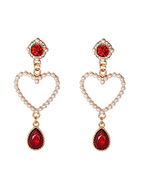 Fashion Red Alloy Diamond-studded Hollow Red Earrings
