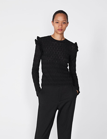 Fashion Black Laminated Decorative Sweater