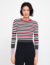 Fashion Black + Red + White Striped Knit Top