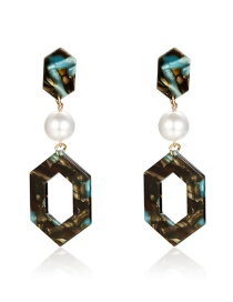 Fashion Color Alloy Acetate Plate Pearl Geometric Earrings