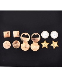 Fashion Gold Alloy Pearl Shell Earrings 6 Pairs