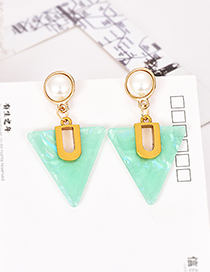 Fashion Blue Alloy Resin Pearl Triangle Earrings