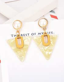 Fashion Yellow Alloy Resin Pearl Triangle Earrings
