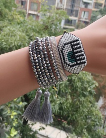 Fashion Silver + White Suit Woven Bracelet Rice Beads Eyes