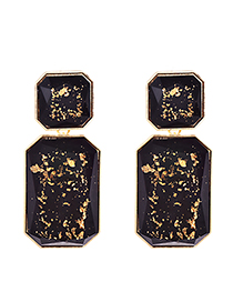 Fashion Black Alloy Resin Square Earrings