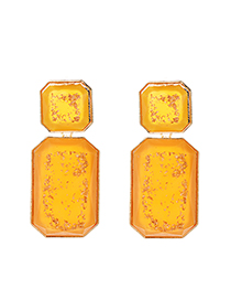 Fashion Yellow Alloy Resin Square Earrings