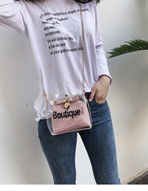 Fashion Pink Transparent Jelly Chain Shoulder Diagonal Package