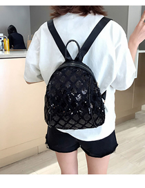 Fashion Black Sequined Square Backpack Large
