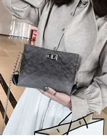 Fashion Gray Pure Color Decorated Shoulder Bag