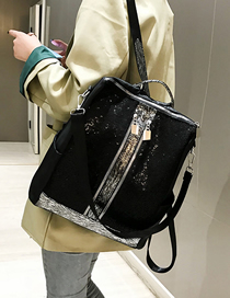 Fashion Black Sequined Mesh Backpack