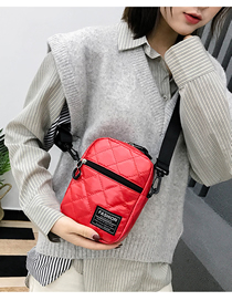 Fashion Red Embroidery Line Rhombic Crossbody Bag