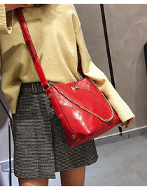 Fashion Red One-shoulder Crossbody Chain Bucket Bag