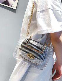 Fashion Black Handbag Shoulder Slung Chain Jelly Transparent Package