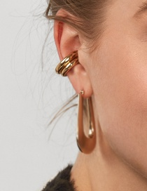 Fashion Gold Alloy Gold-plated Geometric C-shaped Ear Clip Ear Bone Clip One Big And One Small